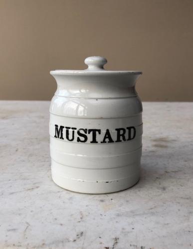Rare Edwardian White Banded Storage Jar - Mustard