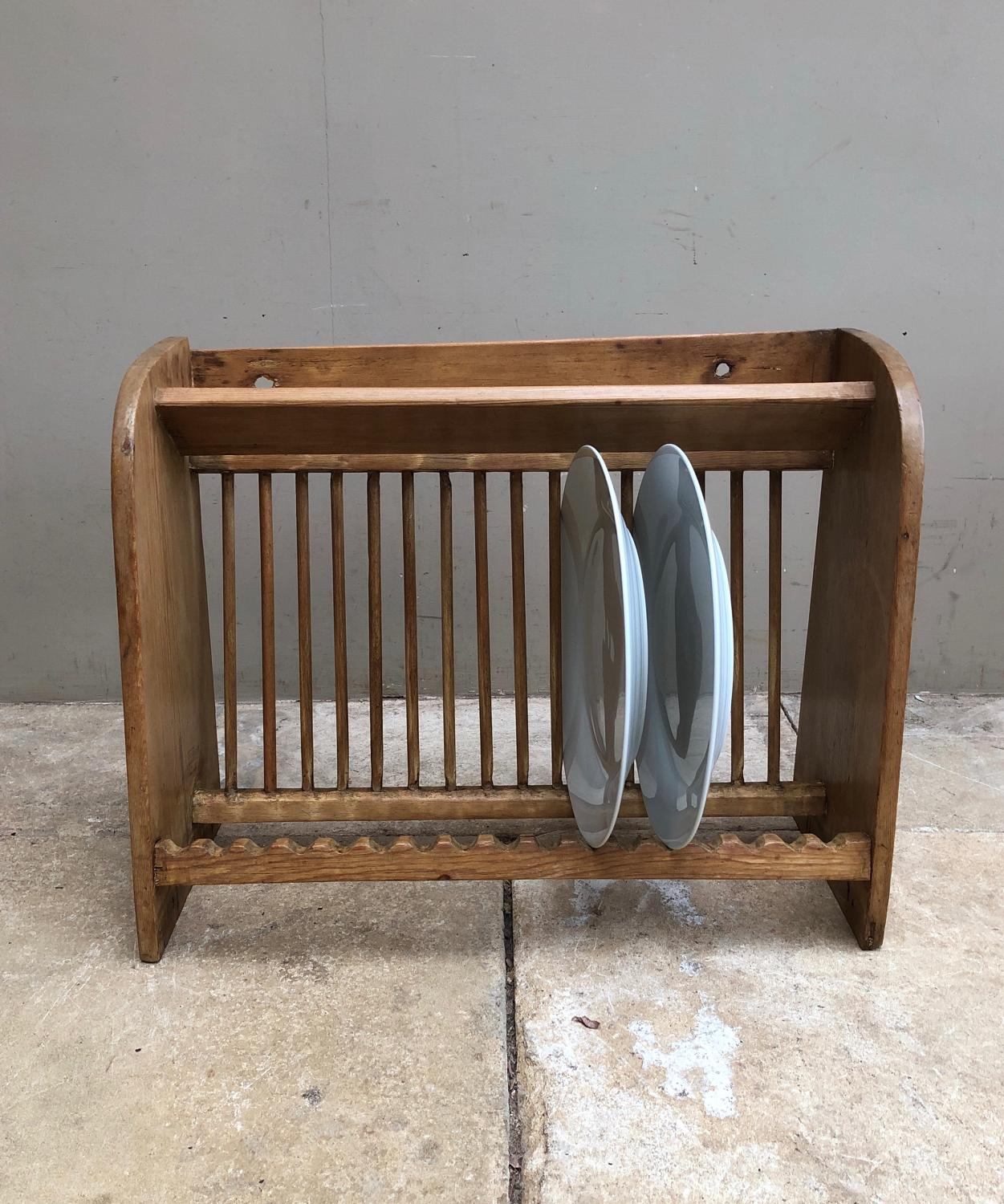 Late Victorian Pine Plate Rack with Cup Shelf