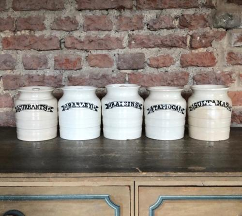 Late Victorian Set of Five White Banded Kitchen Storage Jars