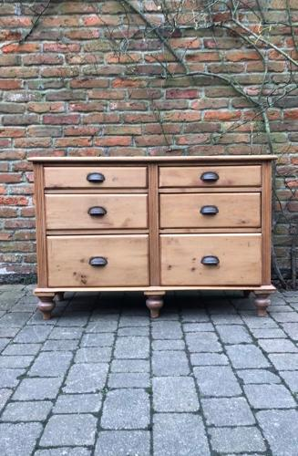 Victorian Pine Six Drawer Base - Sideboard