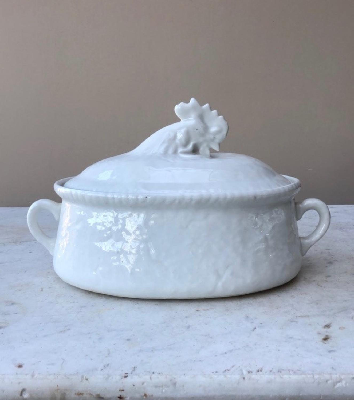 Mid Century White Ceramic Chicken Dish - Egg Crock