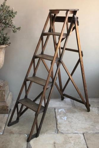 Late Victorian Pine Stepladder - The Hatherley Lattistep