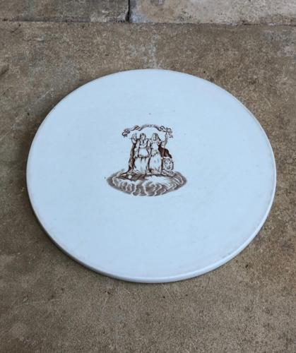 Huge Edwardian White Ceramic Scale Plate - Cheese Plate
