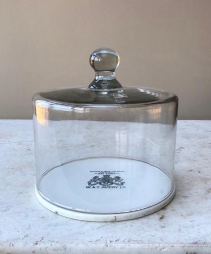Edwardian Glass Dome on Ceramic Scale Plate - Perfect Cheese