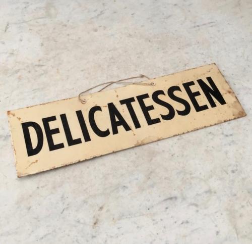 1940s Tin Shop Sign - Delicatessen