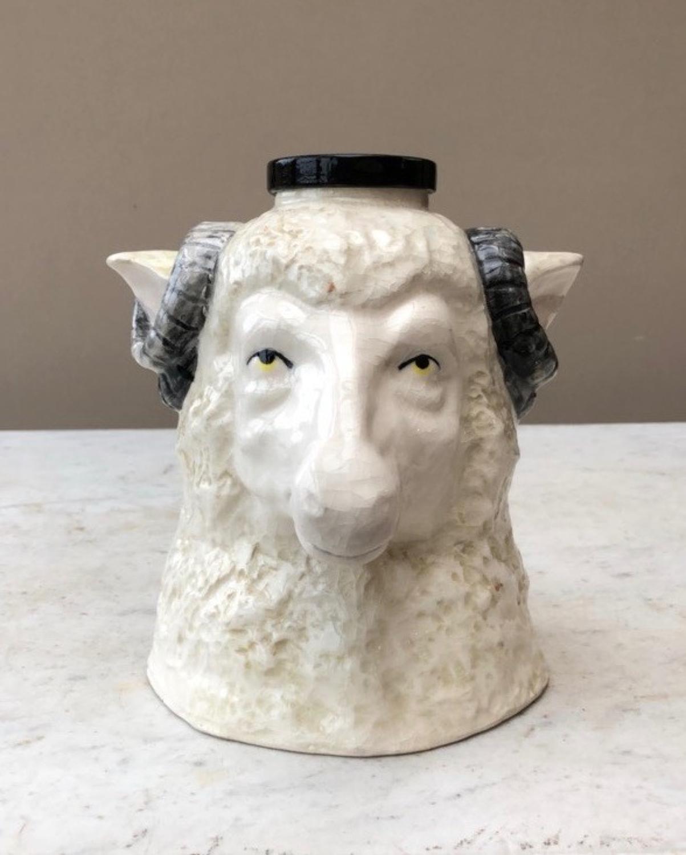 Victorian Staffordshire Rams Head Pot
