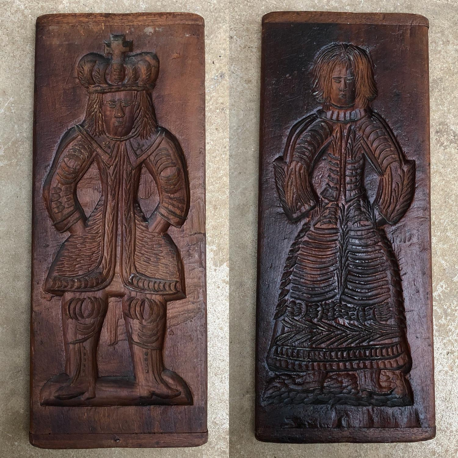 Early Victorian Large Treen Double Sided Gingerbread Mould
