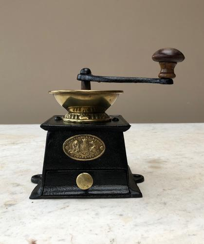 Victorian Cast Iron & Brass Coffee Grinder - Rarer J&W Findlay