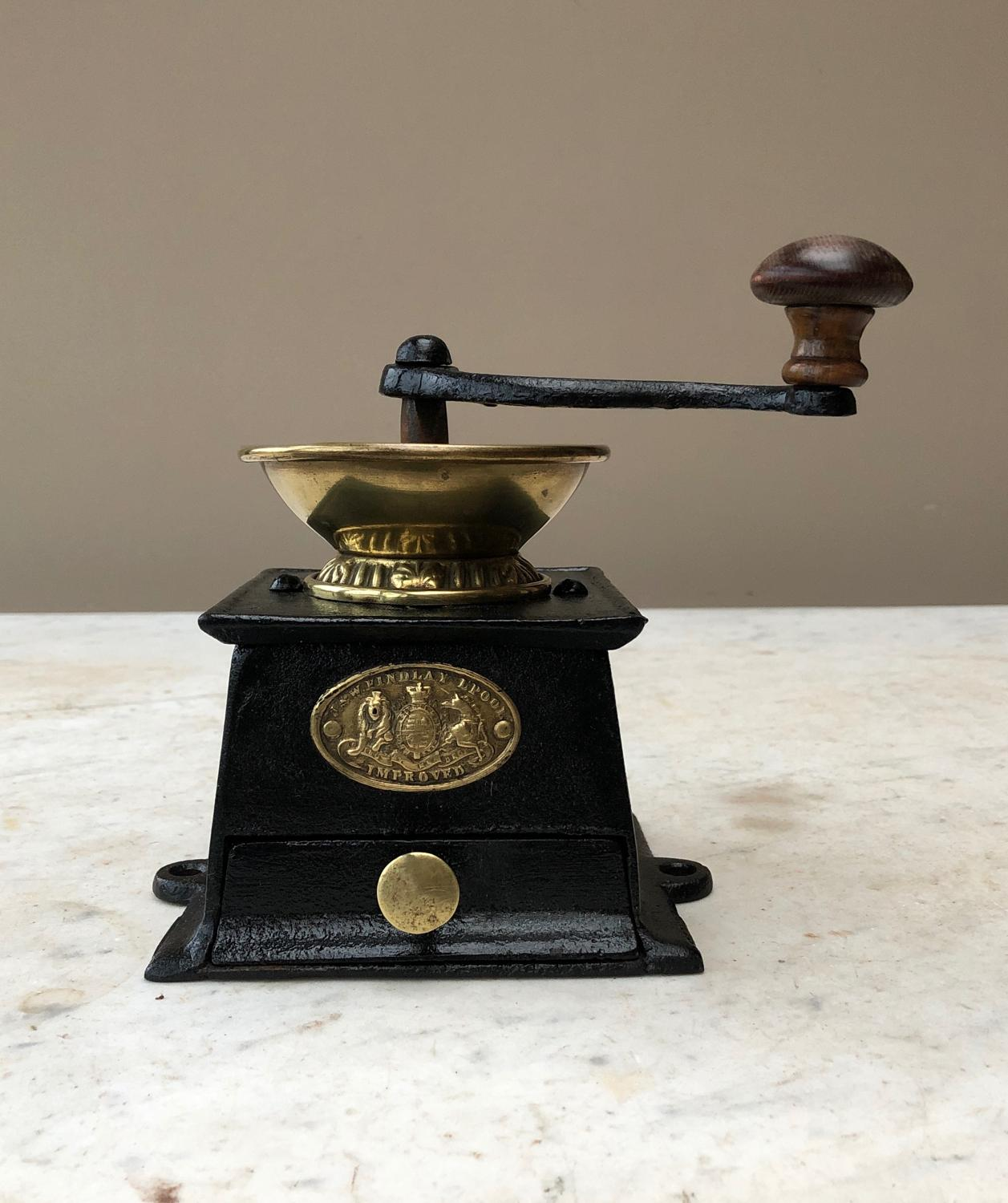 Victorian Cast Iron & Brass Coffee Grinder - Rarer J&W Findlay