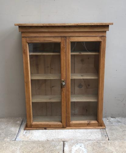 Late Victorian Pine Shelved & Glazed Front Wall Cupboard