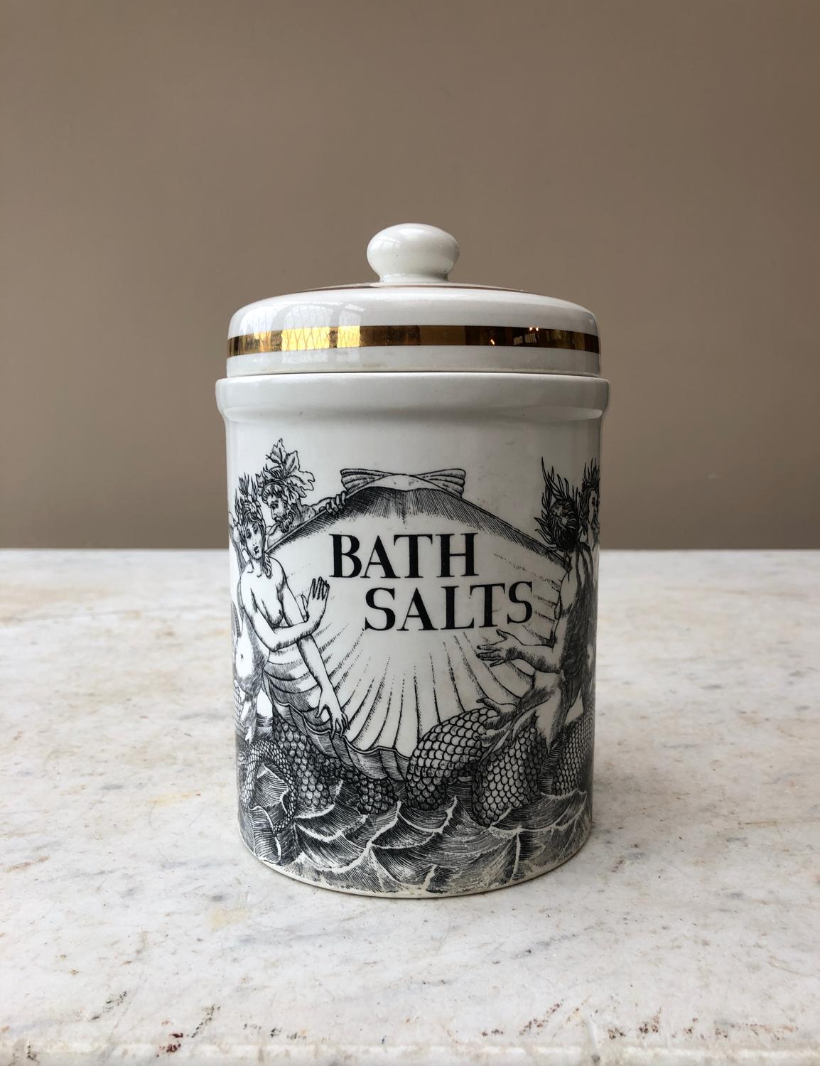 Collectable 1960s Fornasetti Bath Salts Jar. Excellent Condition.