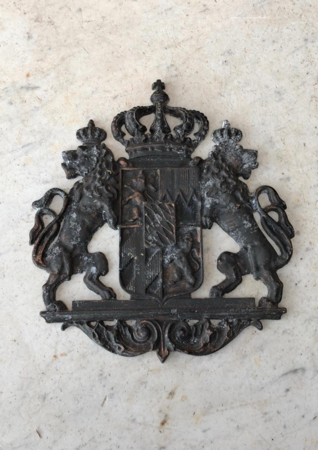 Early 20th Century Cast Metal Armorial Crest