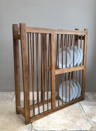 Large Victorian Pine Country House Plate Rack