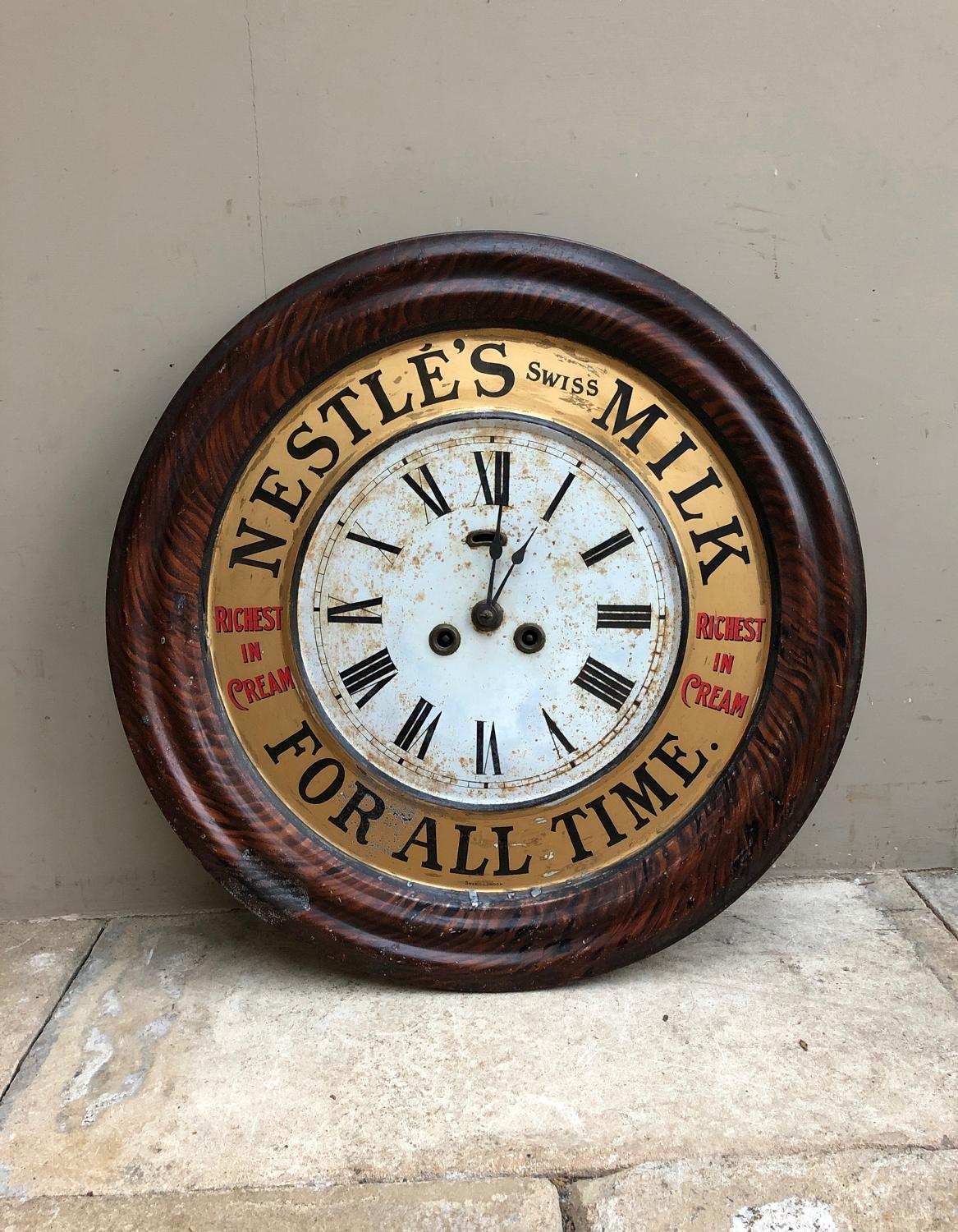 Edwardian Toleware Advertising Clock - Nestles Swiss Milk For All Time