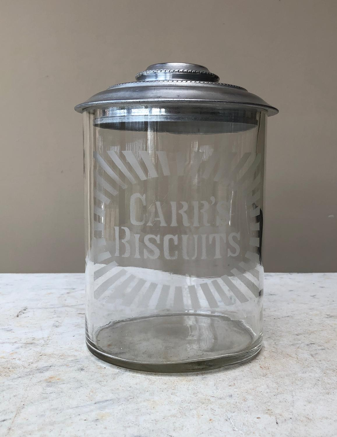 Early 20th Century Shops Glass Advertising Jar - Carrs Biscuits