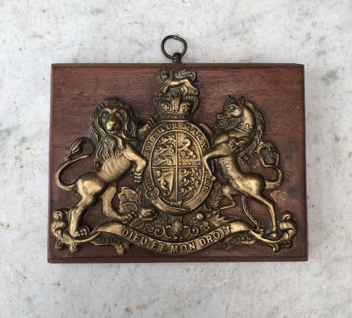 Victorian Royal Armorial Crest Mounted on Mahogany