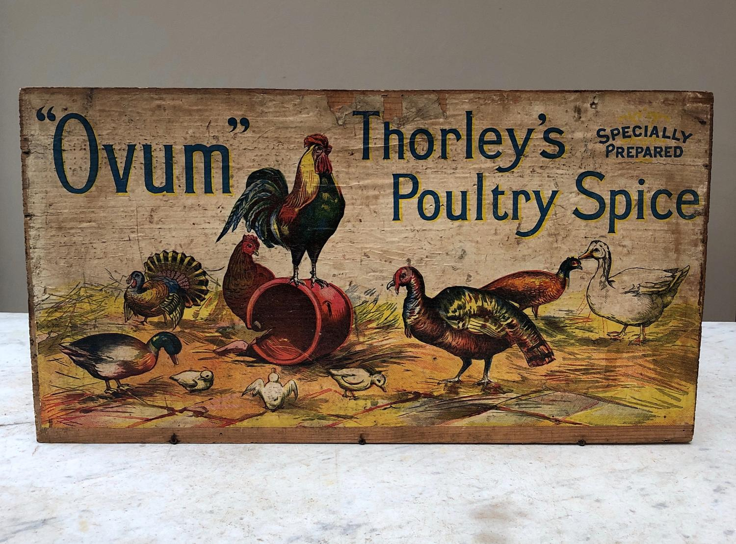 Thorleys Ovum Poultry Spice Advertising Board