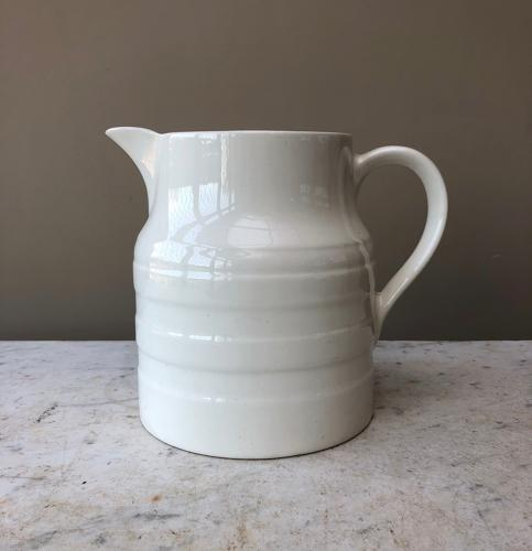 Antique Large White Banded Jug - Four Pints