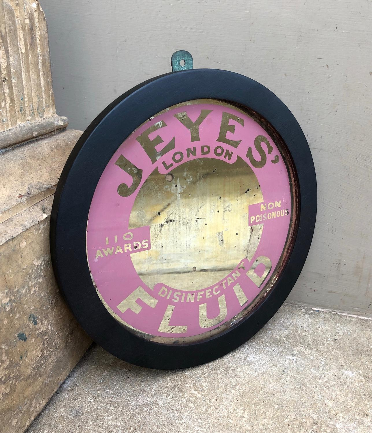 1930s Shops Advertising Mirror - Jeyes Disinfectant - Great Pink
