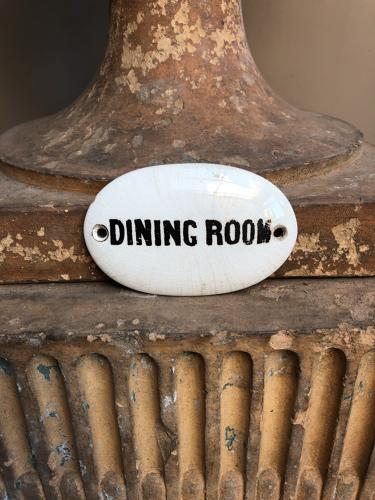 Edwardian White Ironstone Dining Room Plaque