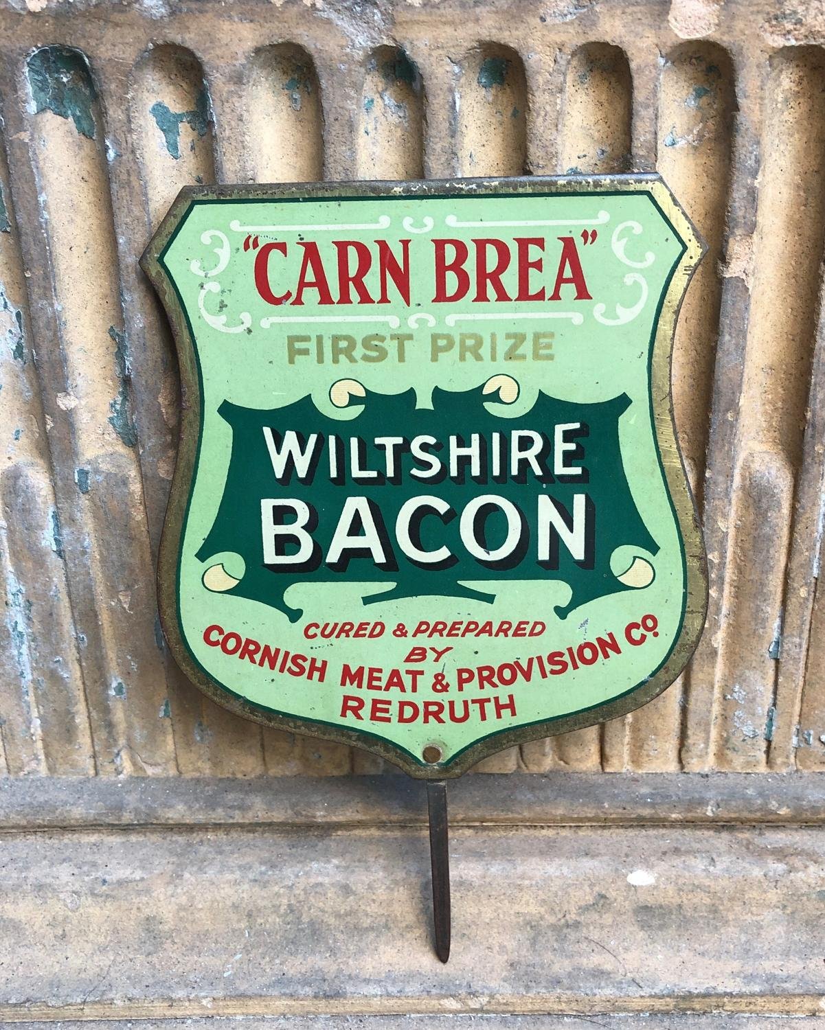 Edwardian Butchers Advertising Sign - Wiltshire Bacon
