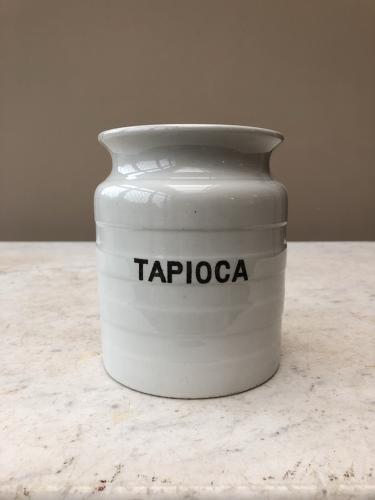 Early 20th Century White Banded Kitchen Storage Jar - Tapioca