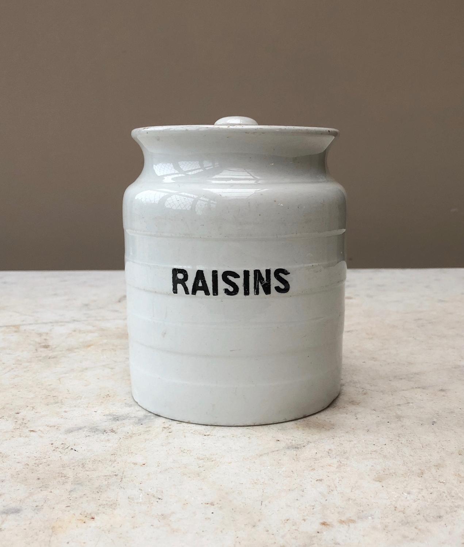 Early 20th Century White Banded Kitchen Storage Jar - Raisins