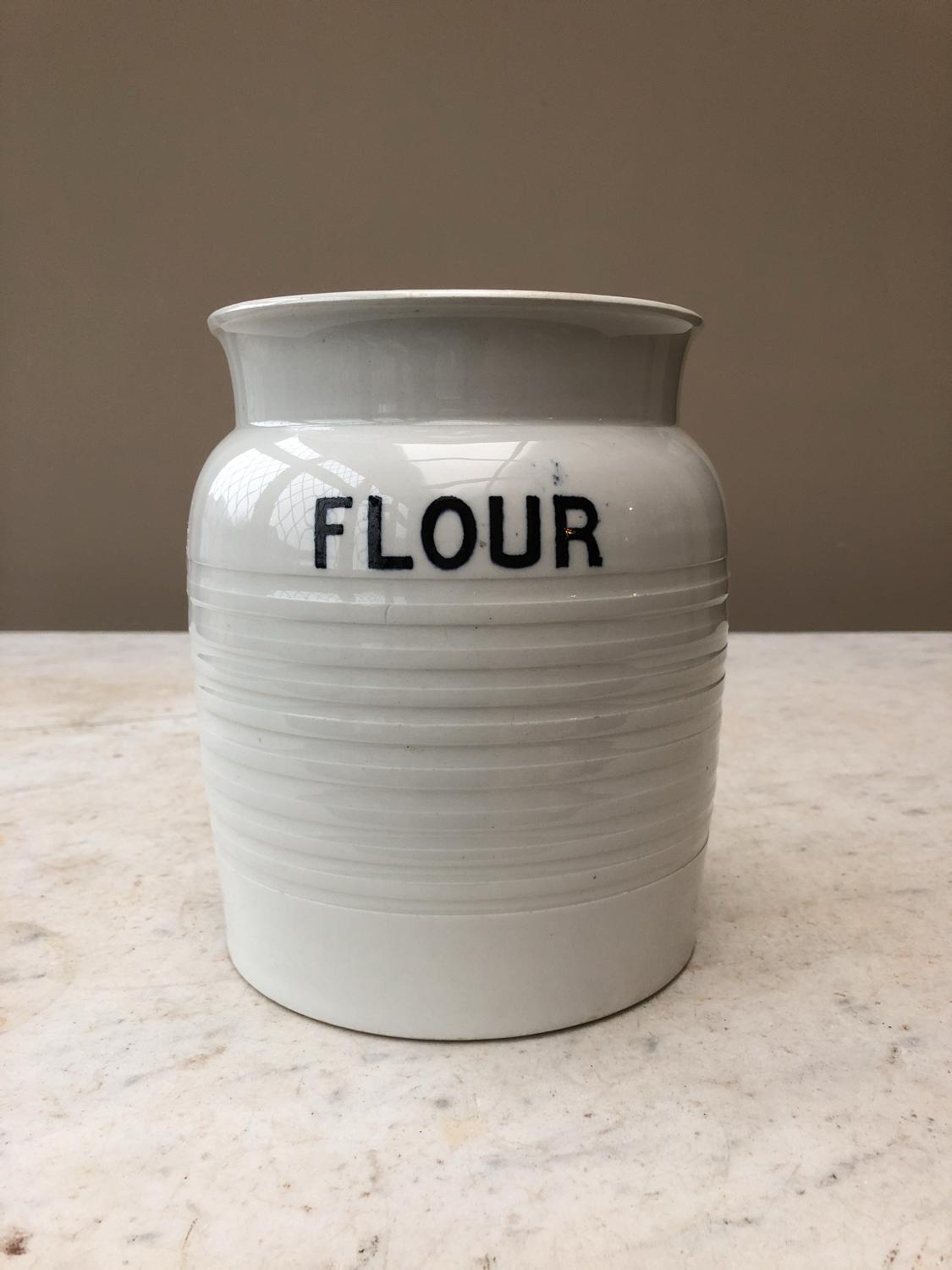 Large Edwardian White Ironstone Flour Jar