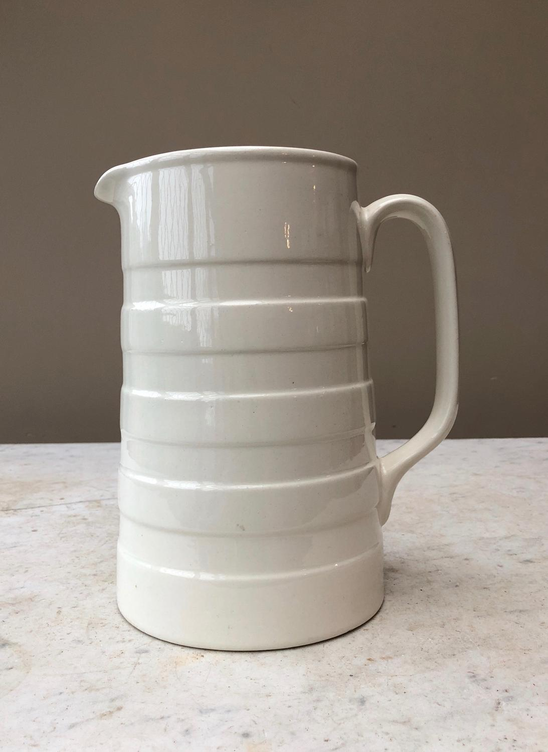 Large Early 20th Century White Banded Dairy Cream Jug