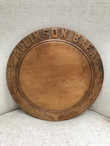 1920s Carved Treen Advertising Bread Board - Allinson Bread