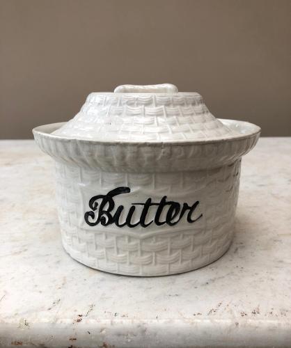 Edwardian White Ironstone Butter Dish - Woven Basket Effect