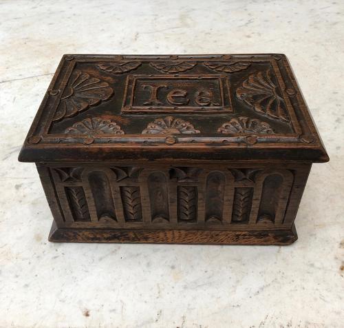 Edwardian Carved Oak Tea Chest