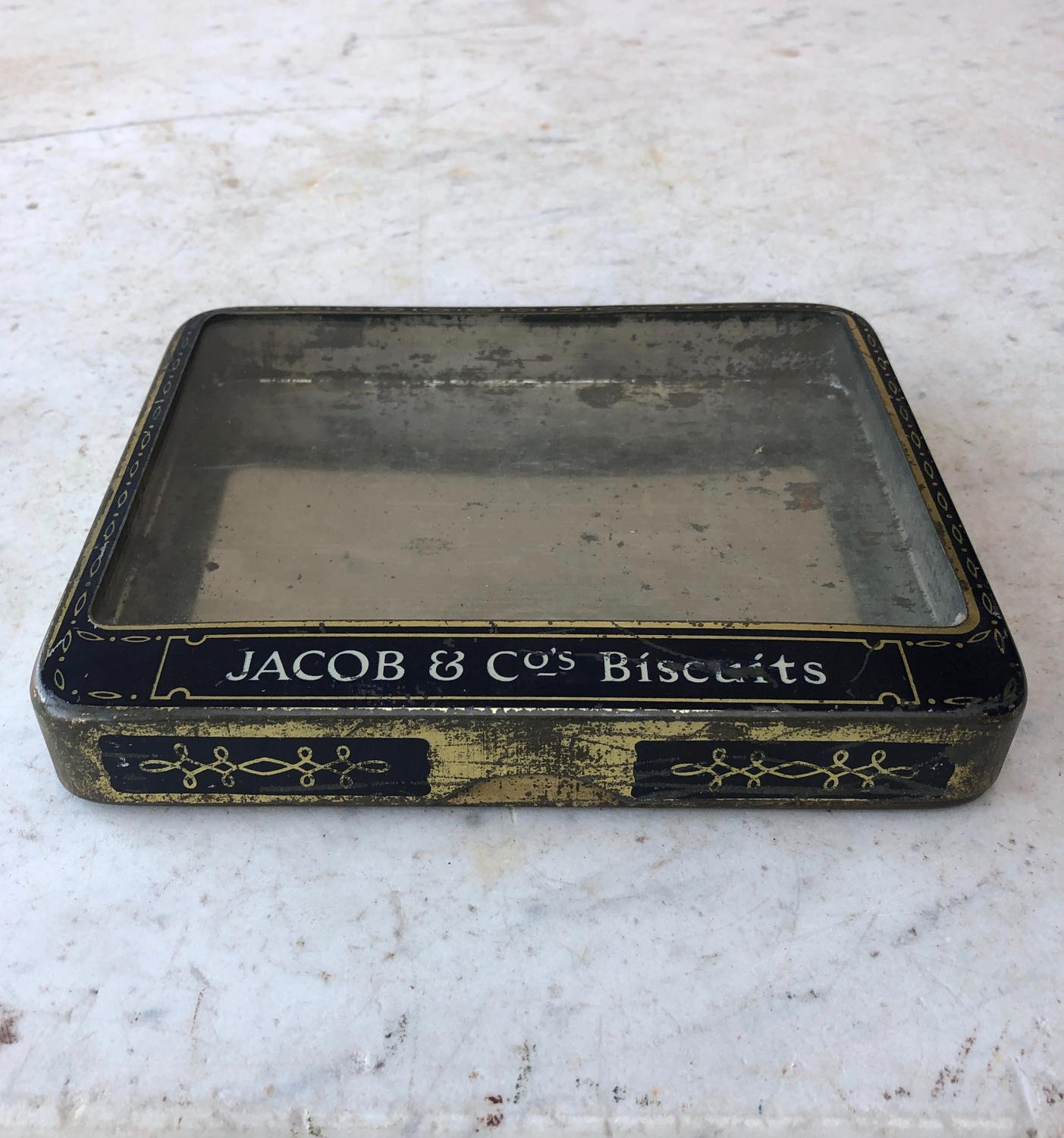 Early 20th Century Glass Top Advertising Tin - Jacob & Co Biscuits