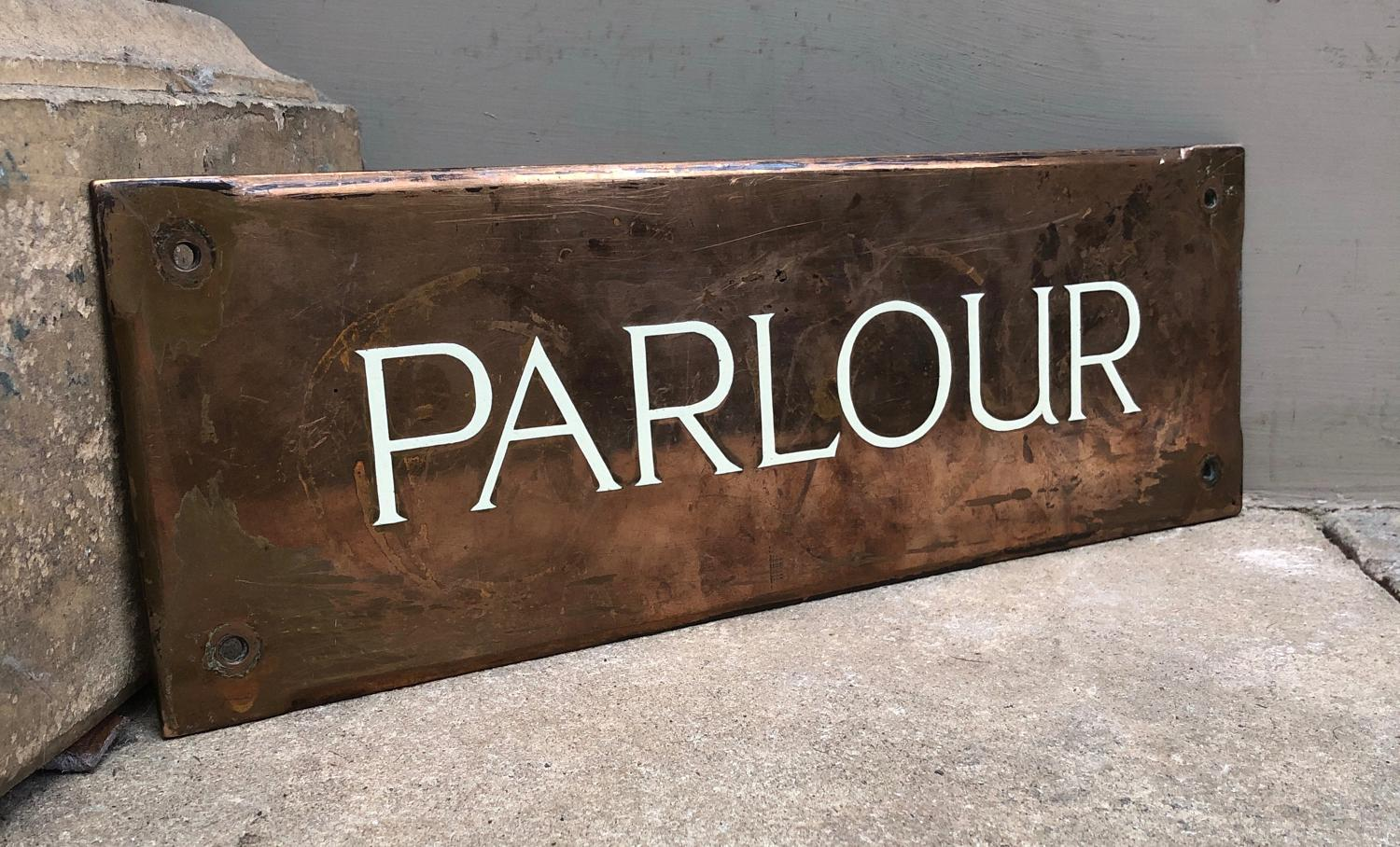 Quality Edwardian Enamel on Copper Sign - Parlour