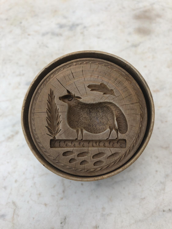 Victorian Treen Butter Stamp - Rare Sheep
