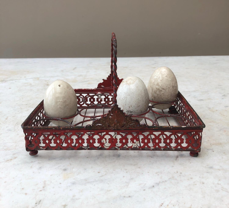 1930s Small Fretwork Metal Egg Rack - One Dozen Eggs