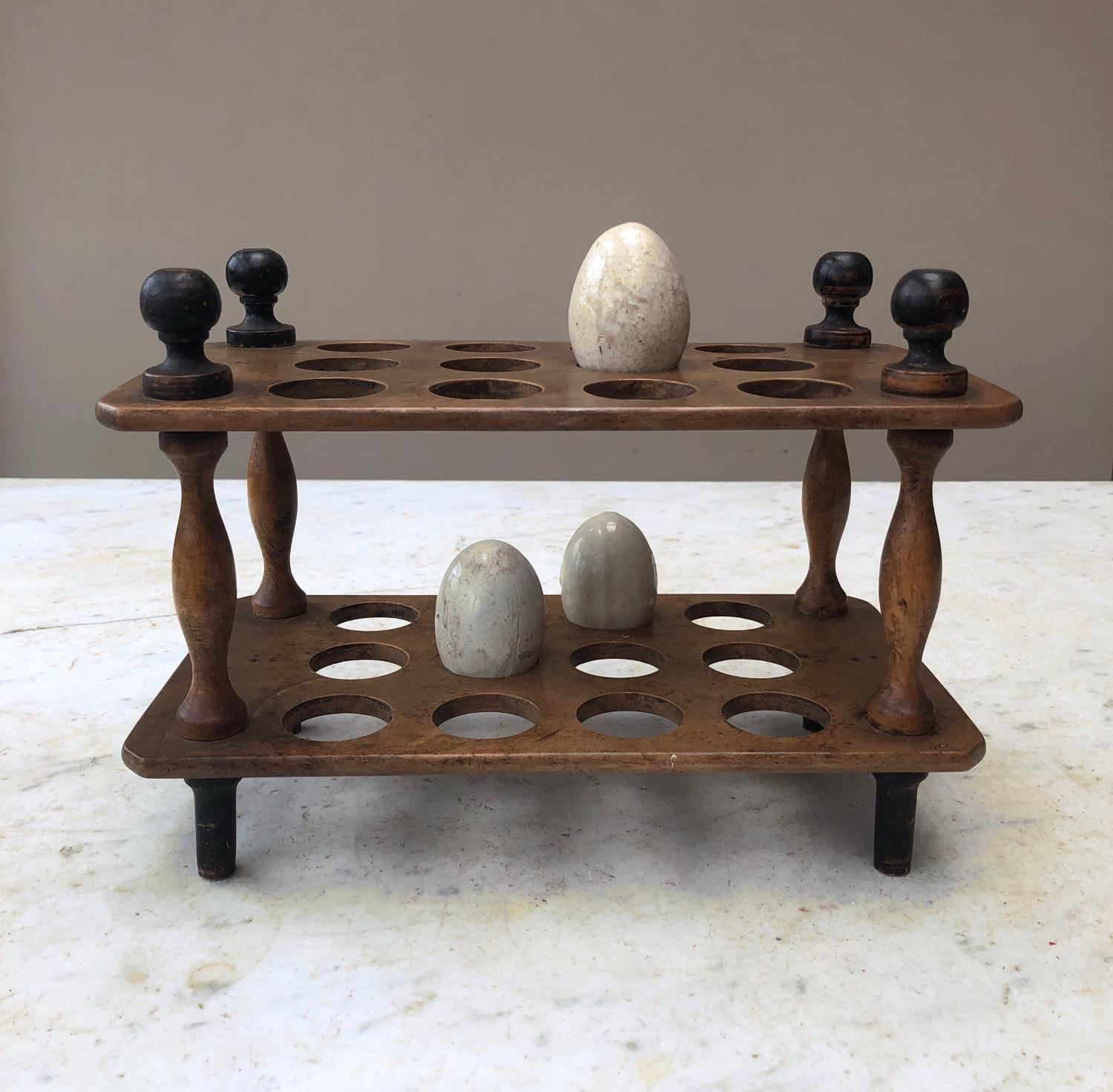 Victorian Treen Two Tier Egg Rack - Two Dozen Eggs