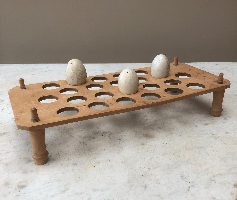 Antique Treen Single Tier Egg Rack - 2 Dozen Eggs