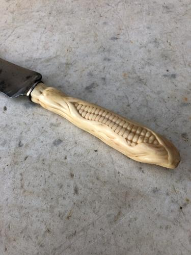 Early Victorian Carved Bone Bread Knife - Corn on the Cob