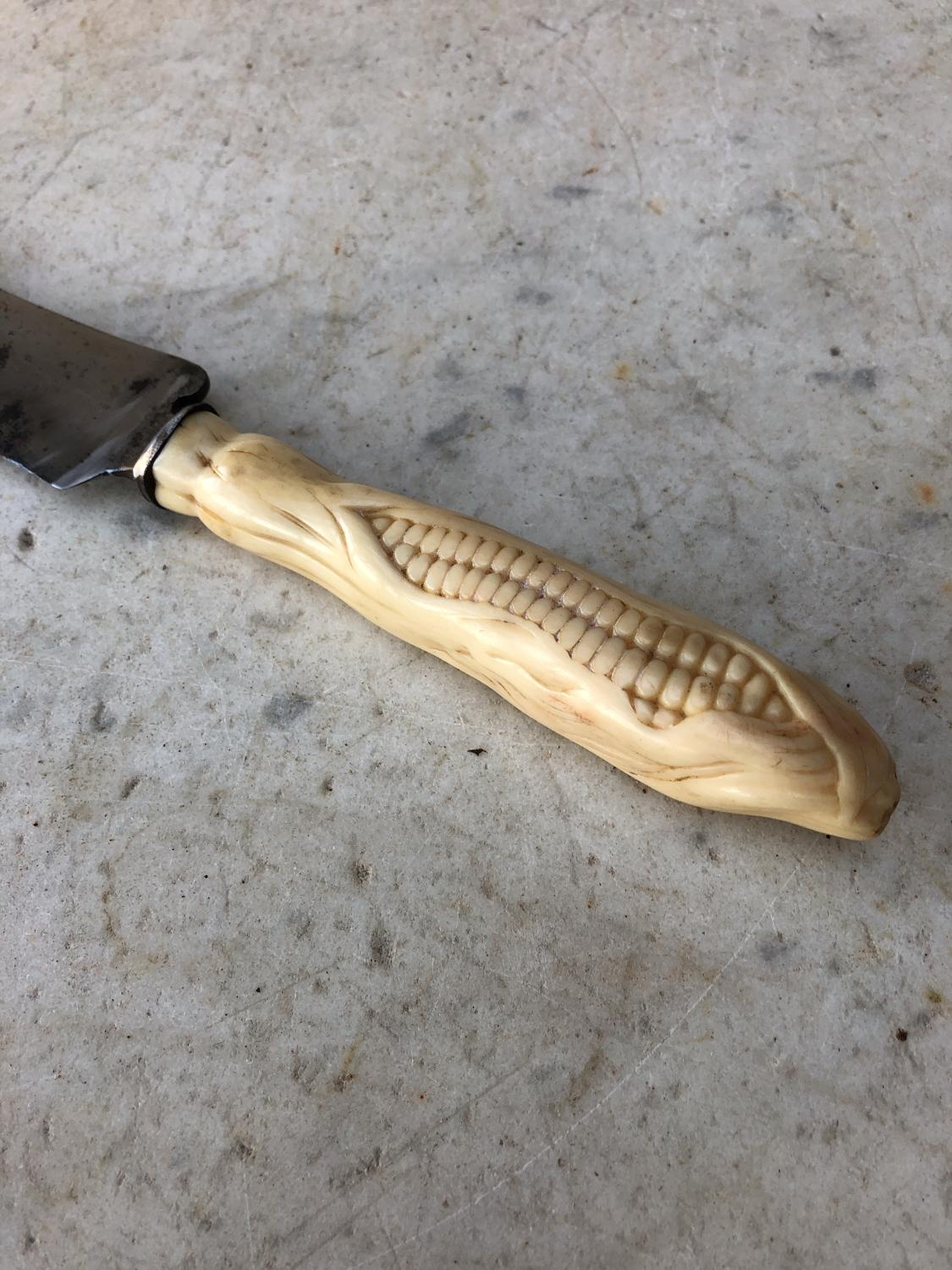 Early Victorian Carved Bone Bread Knife Corn On The Cob In Kitchenalia Treen Advertising