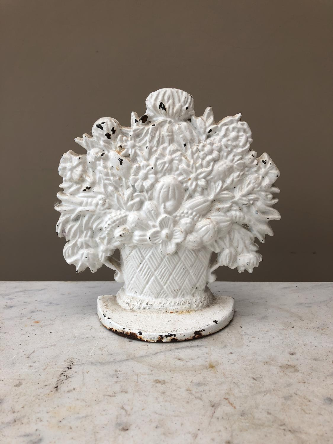 Early 20th Century Cast Iron Door Stop - Basket of Flowers