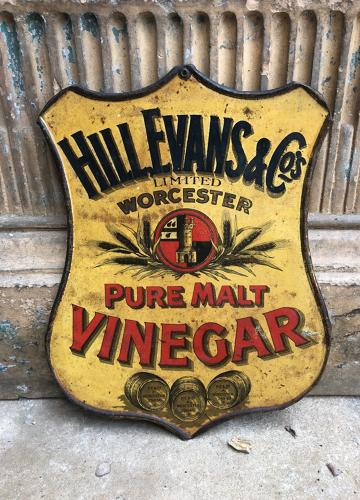 1920s Shops Tin Advertising Sign - Hill Evans & Co Pure Malt Vinegar