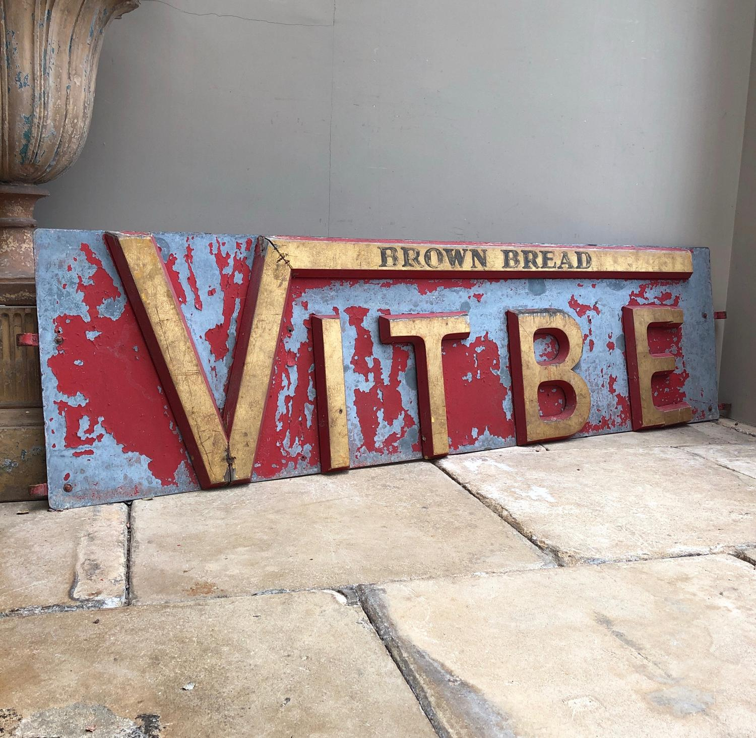 Rare Antique Vitbe Brown Bread Sign with Wooden Letters