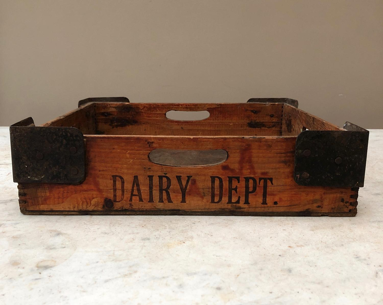 1920s Pine Dairy Tray with Iron Bracket Corners