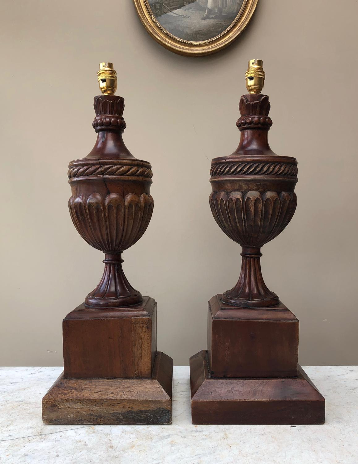 Large Pair of Antique Mahogany Lamp Bases - Urns on Pedestal Bases