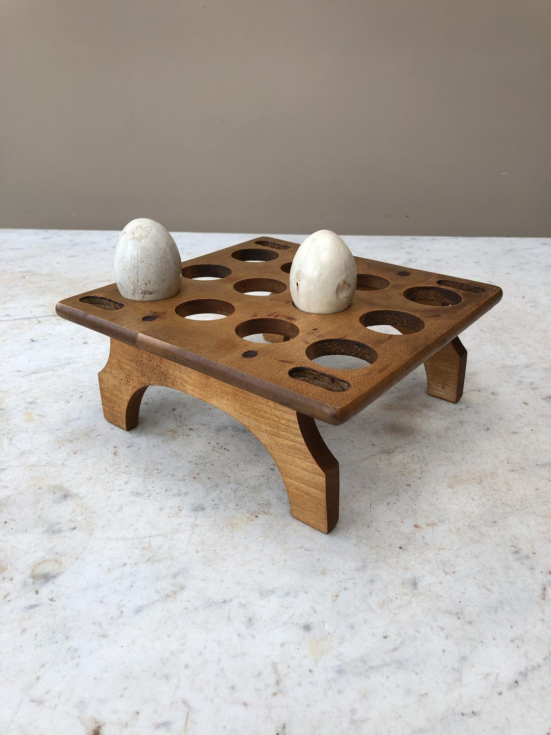 Late Victorian Sycamore Treen Egg Rack - One Dozen Eggs