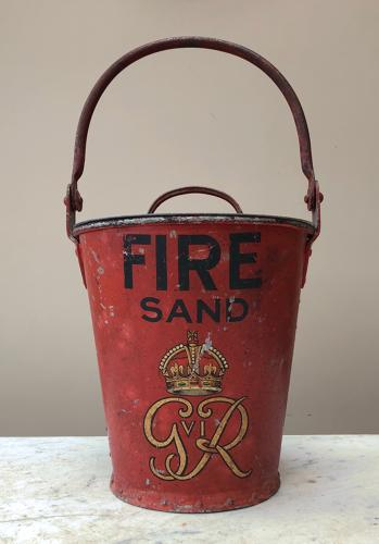 Wonderful Condition Fire Bucket Kings George VI with Lid