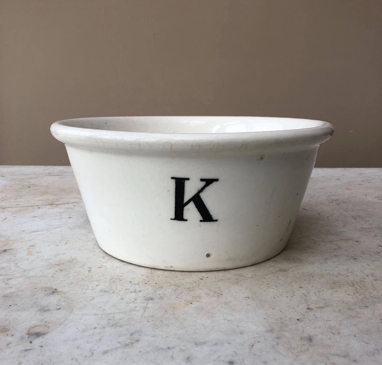 Rare Edwardian White Ironstone K for Kitchen Bowl