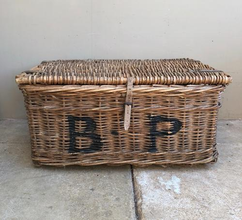 Early 20th Century Leather Bound Laundry Basket - B.P.