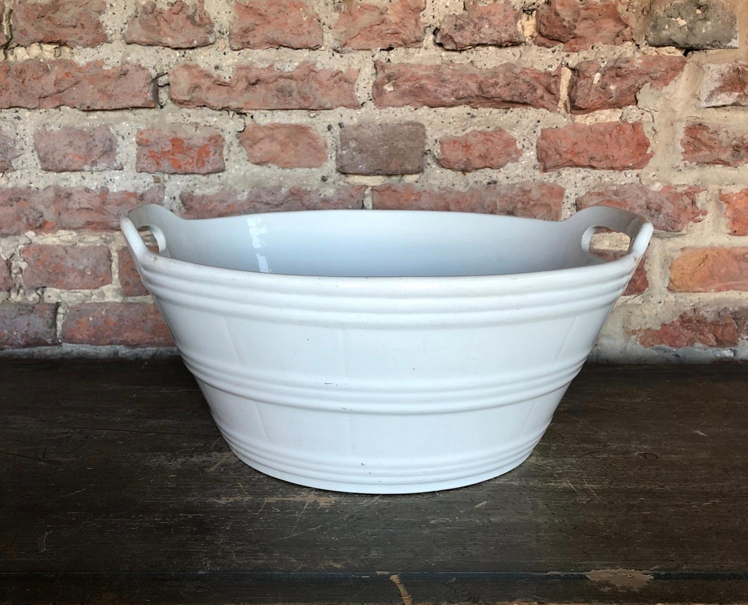 Edwardian White Banded Large Dairy Butter Bowl
